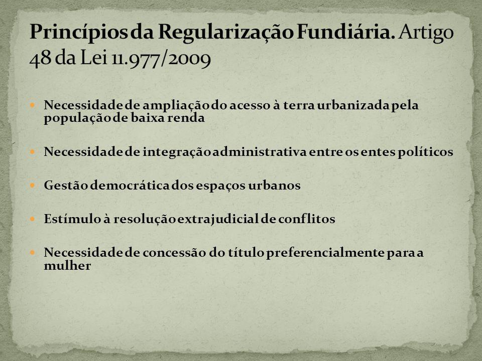 Necessidade de ampliação do acesso à terra urbanizada pela população de baixa renda Necessidade de integração administrativa entre os entes políticos