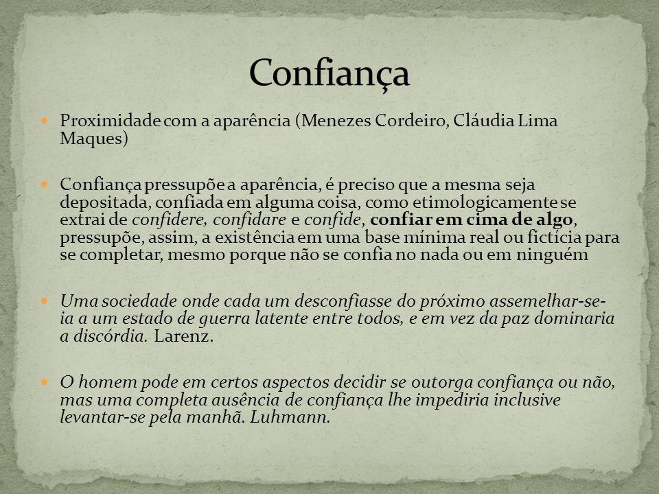 Proximidade com a aparência (Menezes Cordeiro, Cláudia Lima Maques) Confiança pressupõe a aparência, é preciso que a mesma seja depositada, confiada e