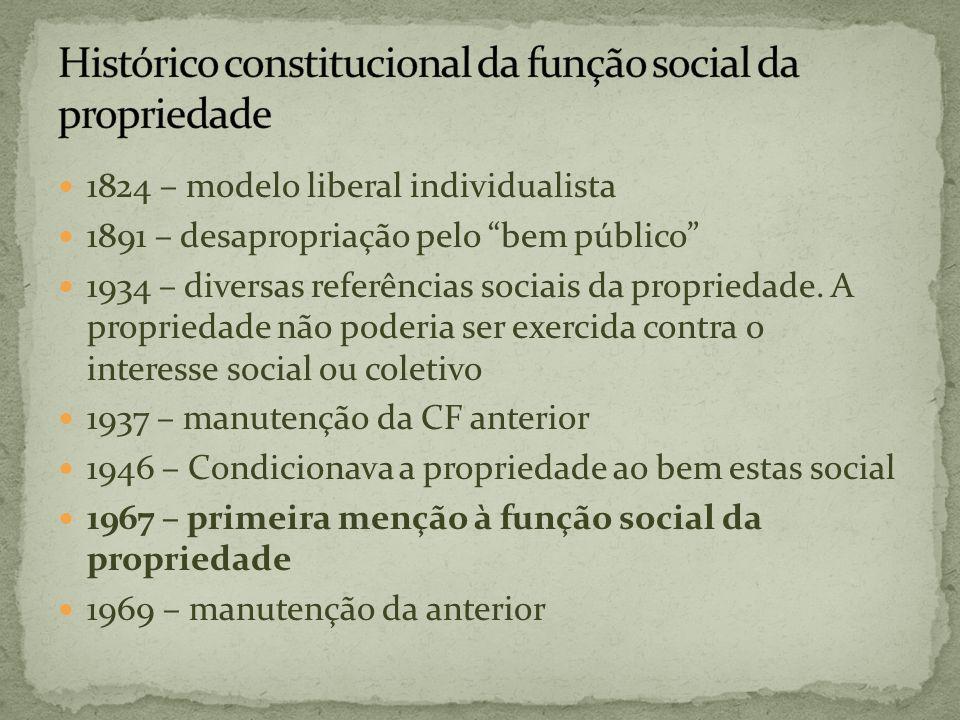 1824 – modelo liberal individualista 1891 – desapropriação pelo bem público 1934 – diversas referências sociais da propriedade. A propriedade não pode