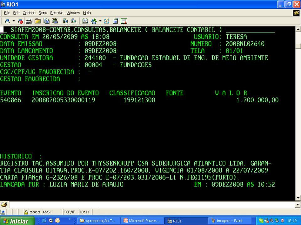 Publicação da Deliberação FEEMA n.º 541, de 16/12/2008, que aprova a norma para elaboração e controle de TAC (NRA-5.001.R-0); Criação de rotina para registro contábil dos TACs no sistema compensado; Solicitação da formalização de uma comissão para acompanhamento dos TACs, conforme art.