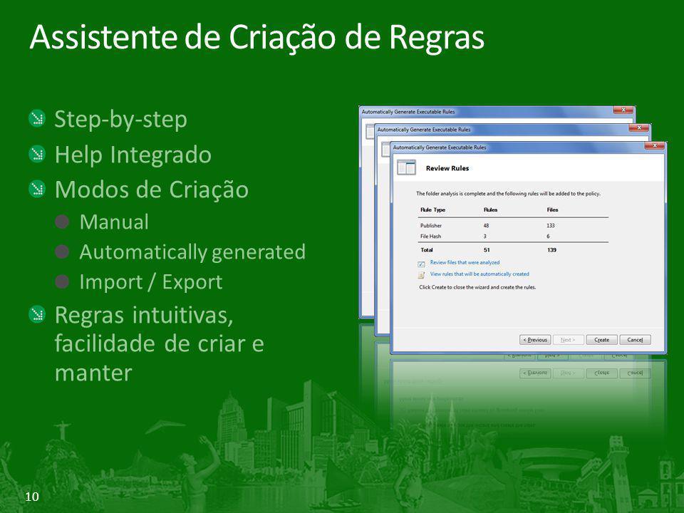 10 Assistente de Criação de Regras Step-by-step Help Integrado Modos de Criação Manual Automatically generated Import / Export Regras intuitivas, facilidade de criar e manter