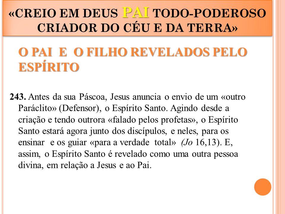 PAI «CREIO EM DEUS PAI TODO-PODEROSO CRIADOR DO CÉU E DA TERRA» O PAI E O FILHO REVELADOS PELO ESPÍRITO 243. Antes da sua Páscoa, Jesus anuncia o envi