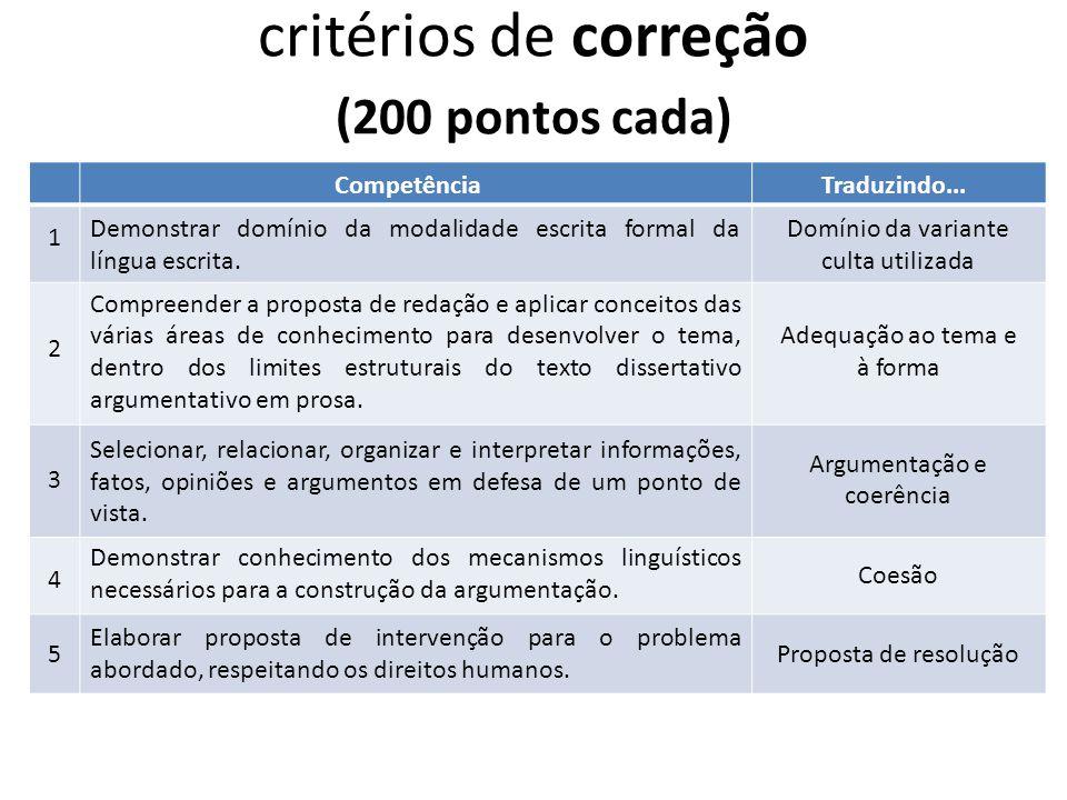 critérios de correção (200 pontos cada) CompetênciaTraduzindo... Demonstrar domínio da modalidade escrita formal da língua escrita. Compreender a prop