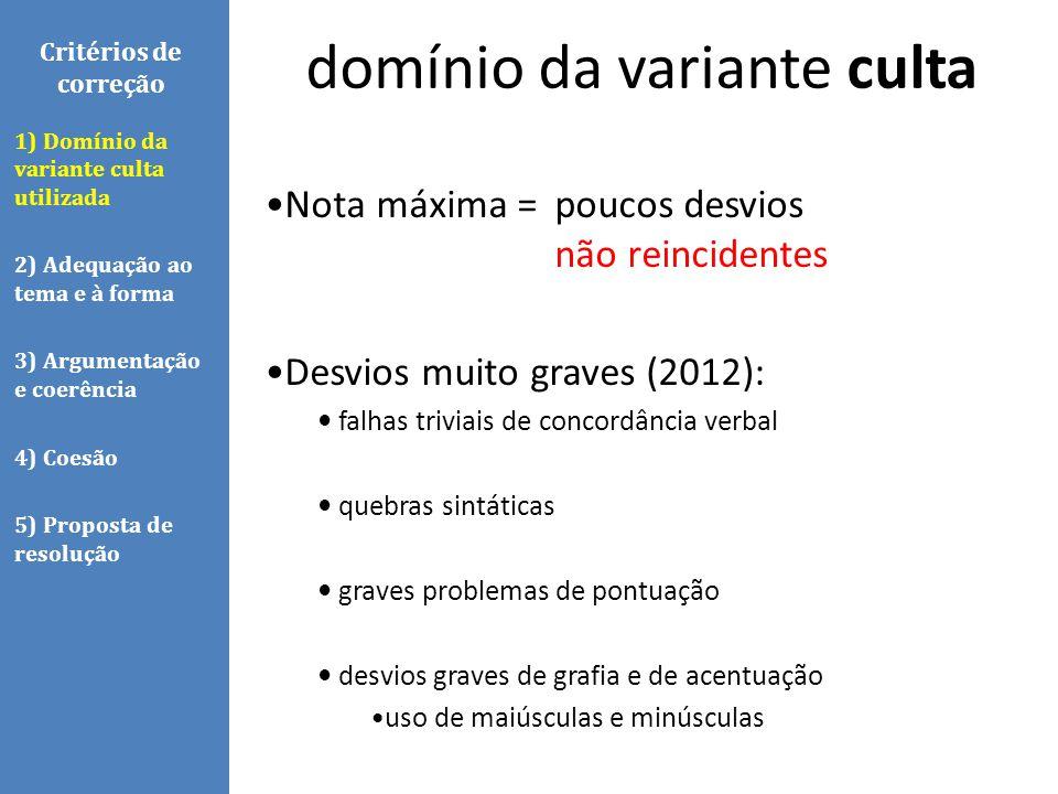 Nota máxima = poucos desvios não reincidentes Desvios muito graves (2012): falhas triviais de concordância verbal quebras sintáticas graves problemas