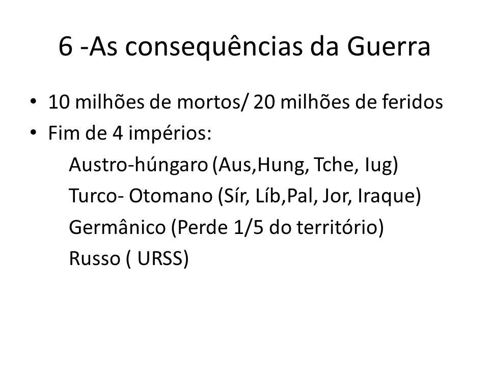 6 -As consequências da Guerra 10 milhões de mortos/ 20 milhões de feridos Fim de 4 impérios: Austro-húngaro (Aus,Hung, Tche, Iug) Turco- Otomano (Sír, Líb,Pal, Jor, Iraque) Germânico (Perde 1/5 do território) Russo ( URSS)