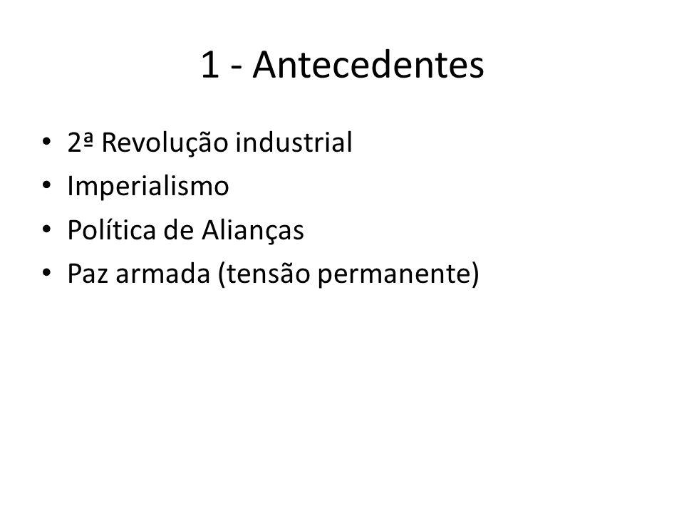 1 - Antecedentes 2ª Revolução industrial Imperialismo Política de Alianças Paz armada (tensão permanente)