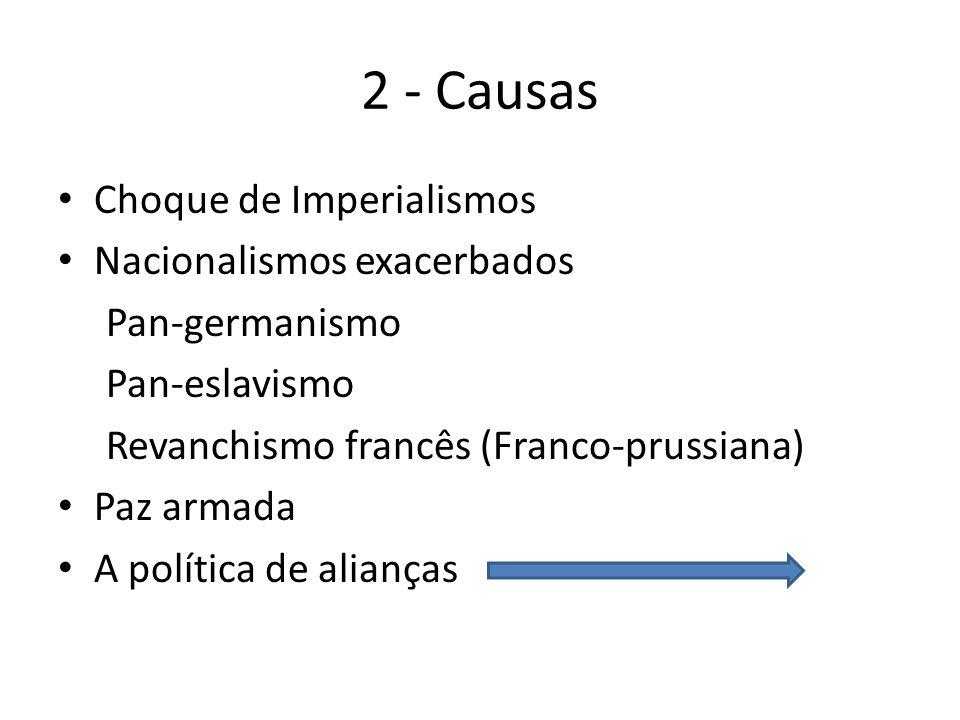 2 - Causas Choque de Imperialismos Nacionalismos exacerbados Pan-germanismo Pan-eslavismo Revanchismo francês (Franco-prussiana) Paz armada A política de alianças