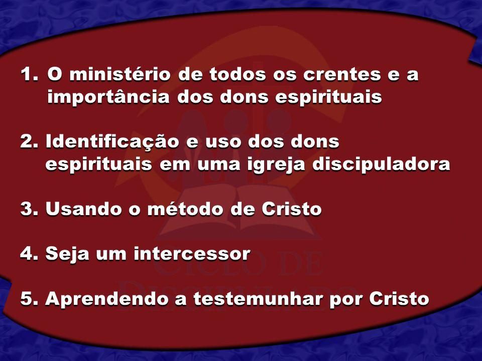 1.O ministério de todos os crentes e a importância dos dons espirituais 2. Identificação e uso dos dons espirituais em uma igreja discipuladora espiri