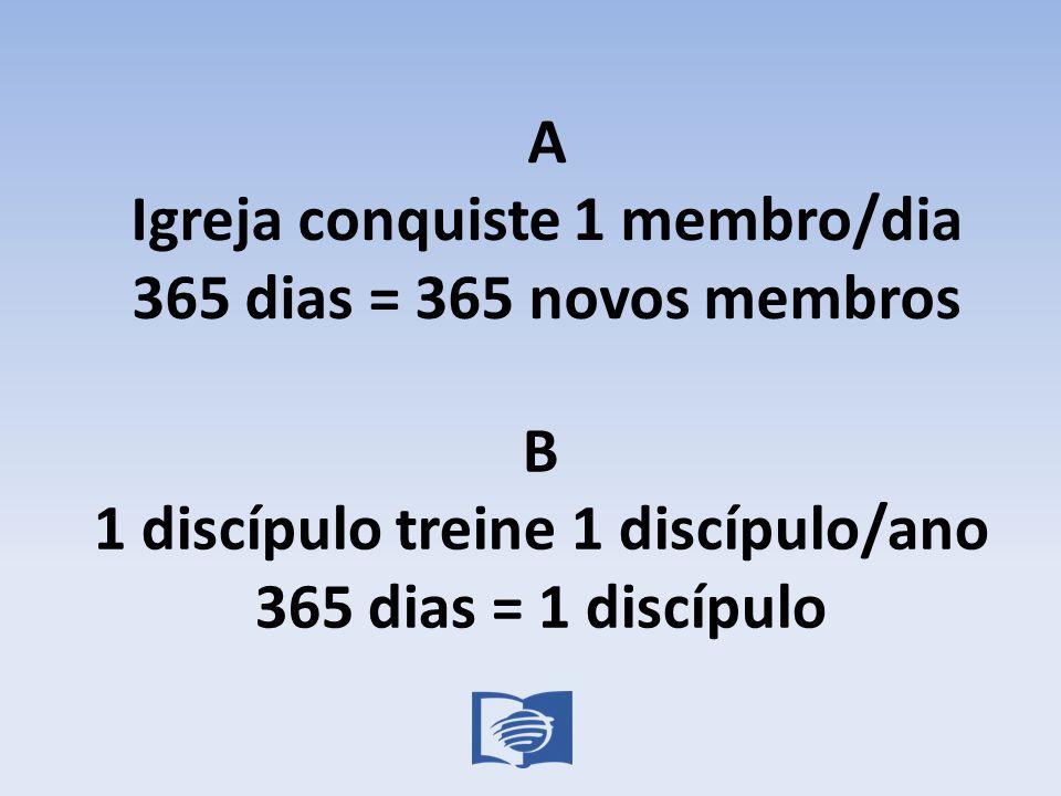 A Igreja conquiste 1 membro/dia 365 dias = 365 novos membros B 1 discípulo treine 1 discípulo/ano 365 dias = 1 discípulo
