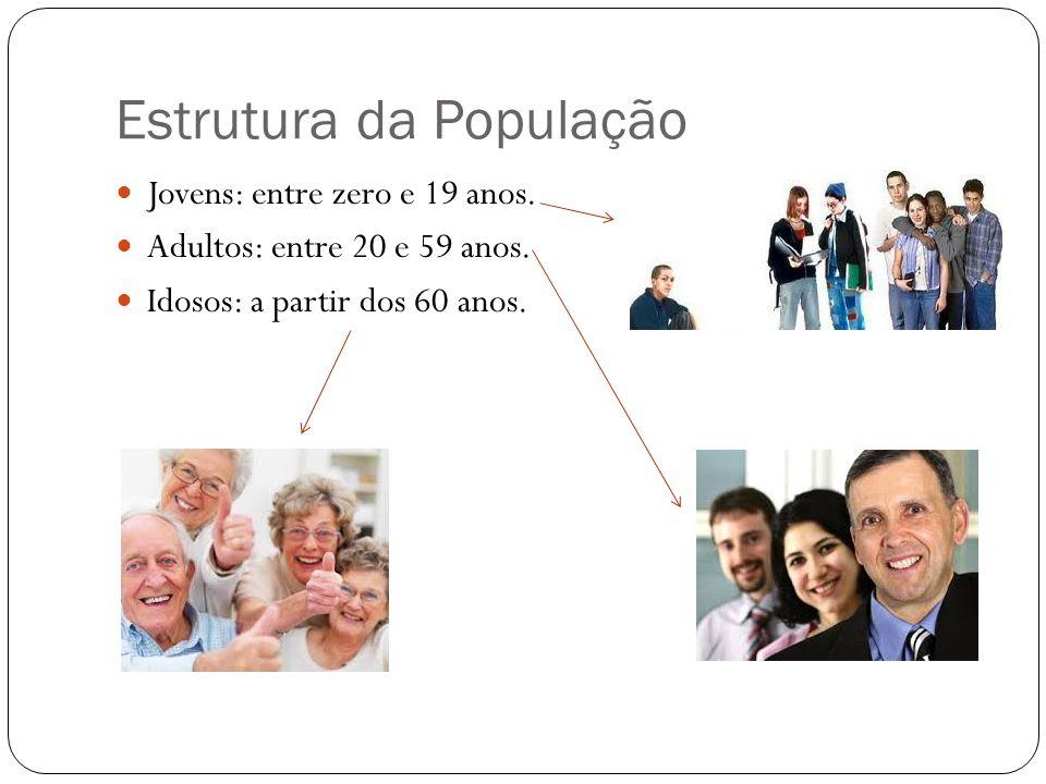 Estrutura da População Jovens: entre zero e 19 anos. Adultos: entre 20 e 59 anos. Idosos: a partir dos 60 anos.