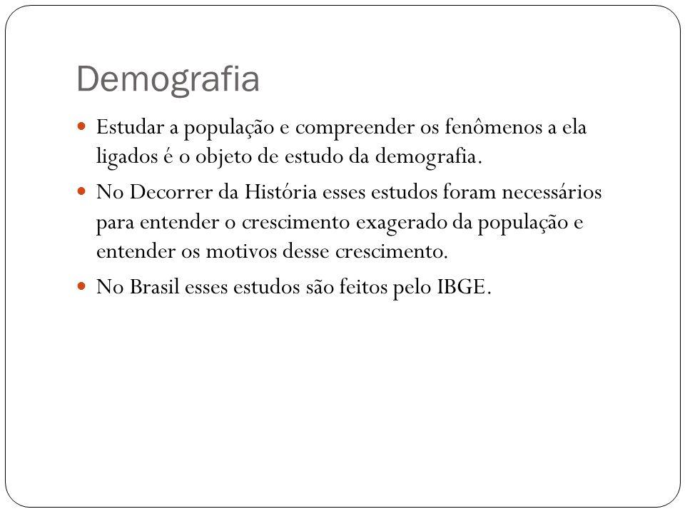 Estudar a população e compreender os fenômenos a ela ligados é o objeto de estudo da demografia. No Decorrer da História esses estudos foram necessári