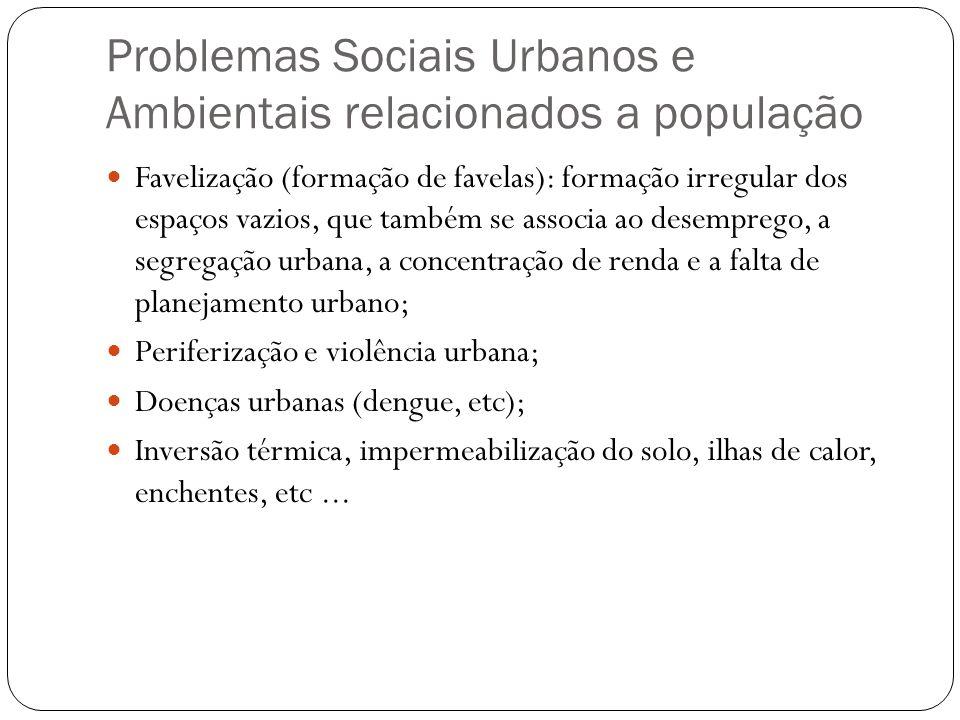 Problemas Sociais Urbanos e Ambientais relacionados a população Favelização (formação de favelas): formação irregular dos espaços vazios, que também s