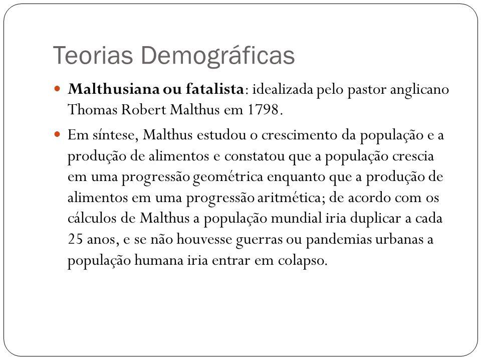 Teorias Demográficas Malthusiana ou fatalista: idealizada pelo pastor anglicano Thomas Robert Malthus em 1798. Em síntese, Malthus estudou o crescimen
