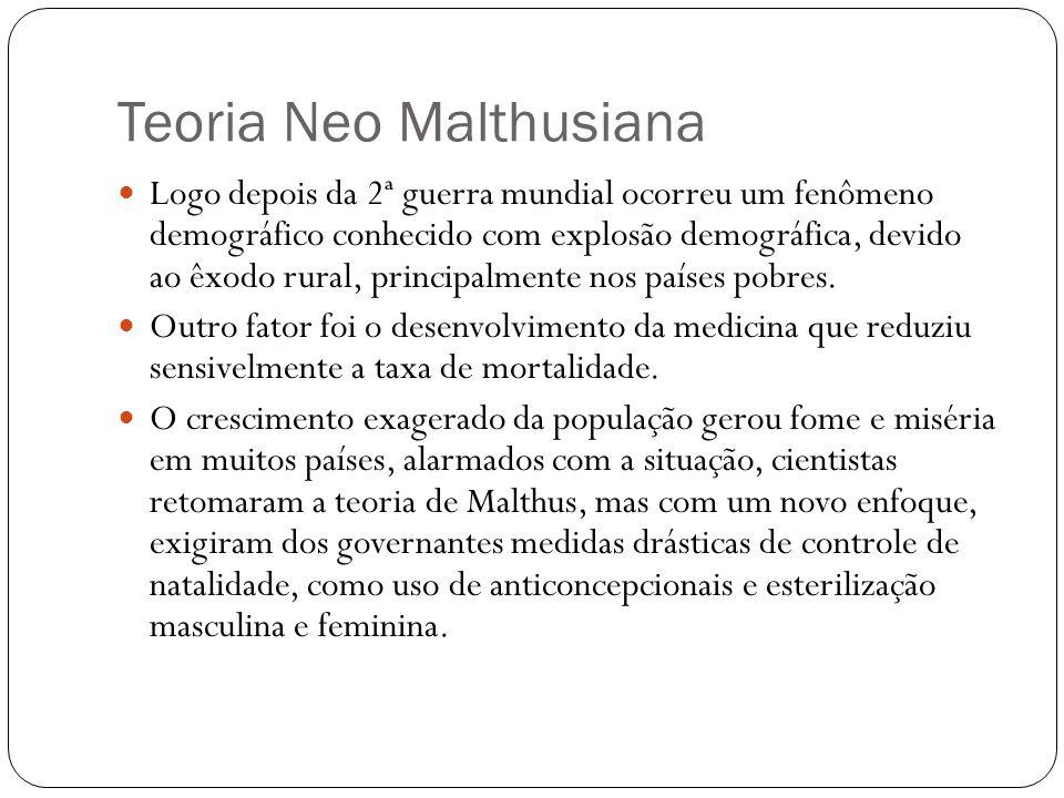 Teoria Neo Malthusiana Logo depois da 2ª guerra mundial ocorreu um fenômeno demográfico conhecido com explosão demográfica, devido ao êxodo rural, pri