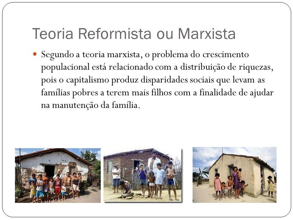 Teoria Reformista ou Marxista Segundo a teoria marxista, o problema do crescimento populacional está relacionado com a distribuição de riquezas, pois