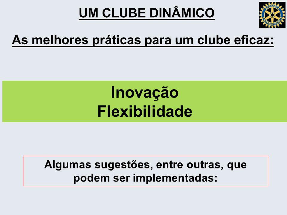 As melhores práticas para um clube eficaz: Inovação Flexibilidade Algumas sugestões, entre outras, que podem ser implementadas: