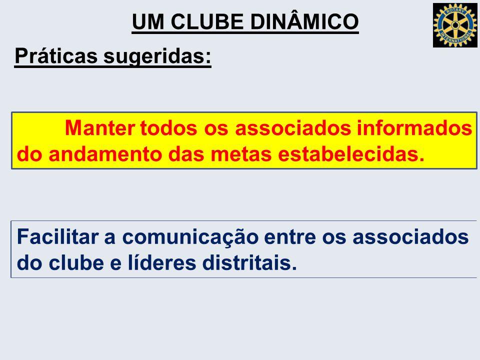 UM CLUBE DINÂMICO Práticas sugeridas: Manter todos os associados informados do andamento das metas estabelecidas.