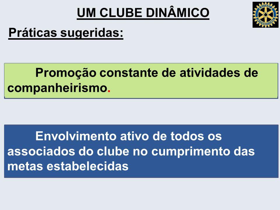 UM CLUBE DINÂMICO Práticas sugeridas: Promoção constante de atividades de companheirismo.