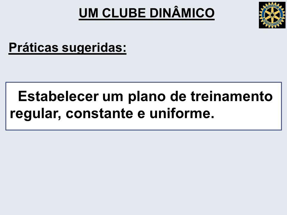 UM CLUBE DINÂMICO Estabelecer um plano de treinamento regular, constante e uniforme.