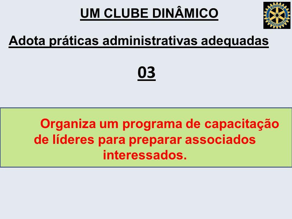 UM CLUBE DINÂMICO Adota práticas administrativas adequadas Organiza um programa de capacitação de líderes para preparar associados interessados.