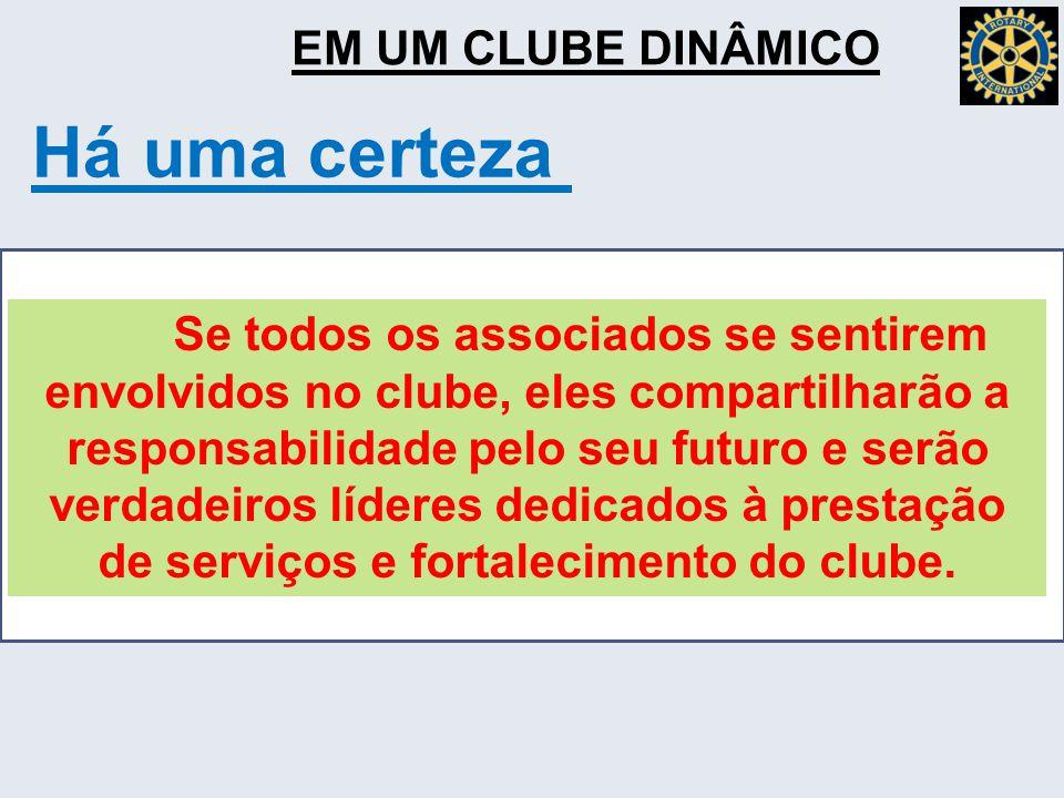 EM UM CLUBE DINÂMICO Há uma certeza Se todos os associados se sentirem envolvidos no clube, eles compartilharão a responsabilidade pelo seu futuro e serão verdadeiros líderes dedicados à prestação de serviços e fortalecimento do clube.