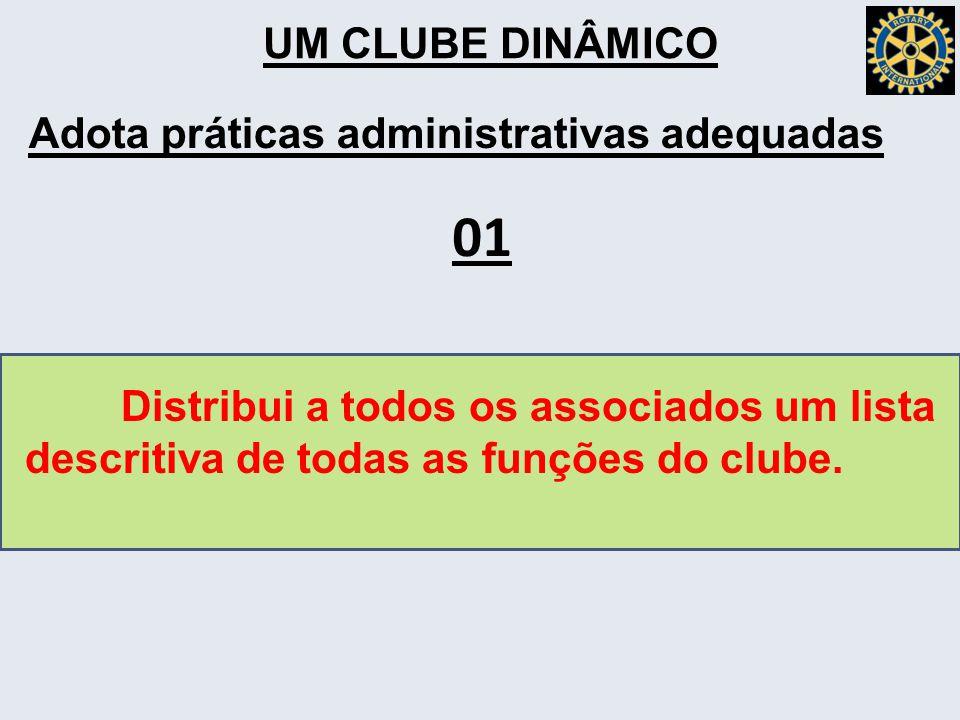 UM CLUBE DINÂMICO Adota práticas administrativas adequadas Distribui a todos os associados um lista descritiva de todas as funções do clube.
