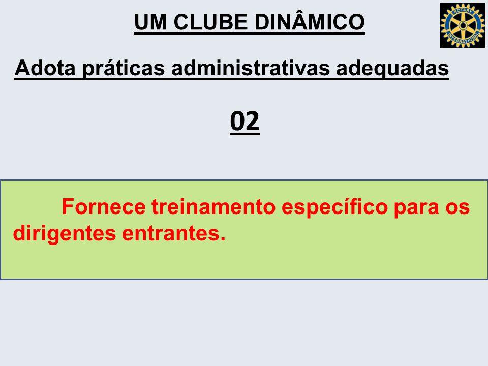 UM CLUBE DINÂMICO Adota práticas administrativas adequadas Fornece treinamento específico para os dirigentes entrantes.