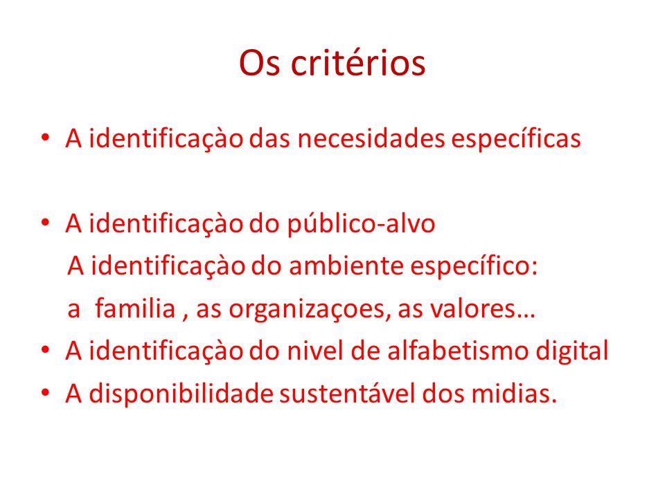 Os critérios A identificaçào das necesidades específicas A identificaçào do público-alvo A identificaçào do ambiente específico: a familia, as organizaçoes, as valores… A identificaçào do nivel de alfabetismo digital A disponibilidade sustentável dos midias.