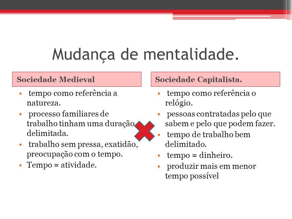 Mudança de mentalidade. Sociedade MedievalSociedade Capitalista. tempo como referência a natureza. processo familiares de trabalho tinham uma duração