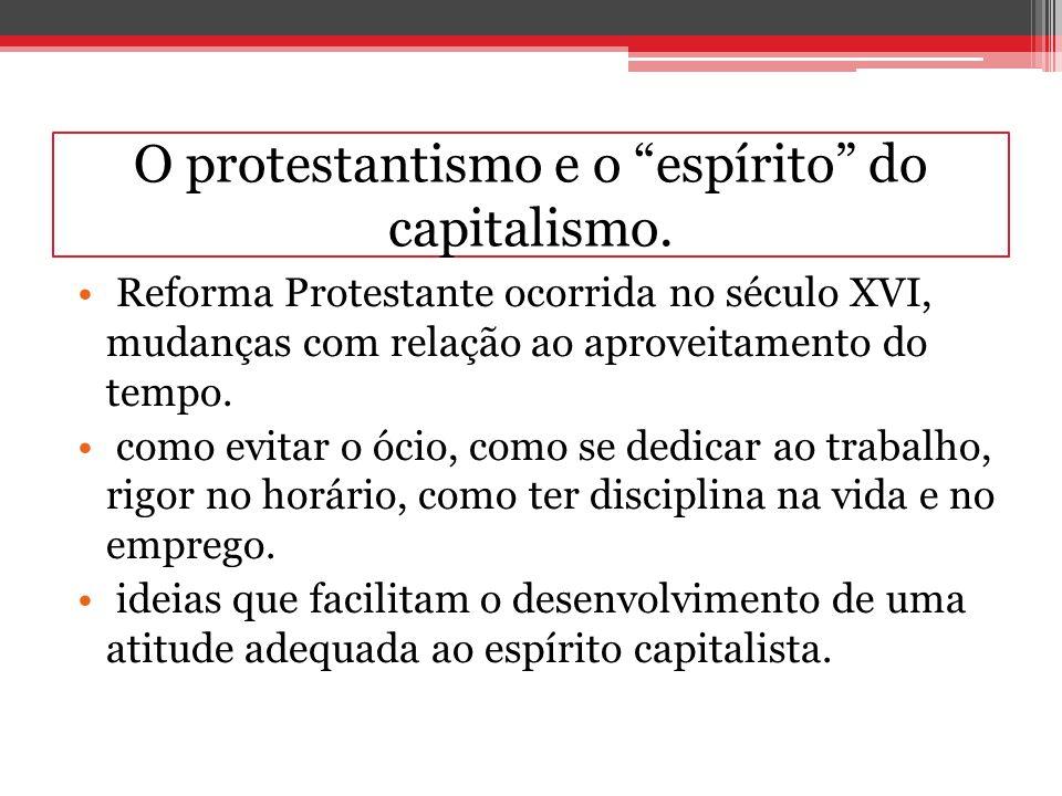 O protestantismo e o espírito do capitalismo. Reforma Protestante ocorrida no século XVI, mudanças com relação ao aproveitamento do tempo. como evitar