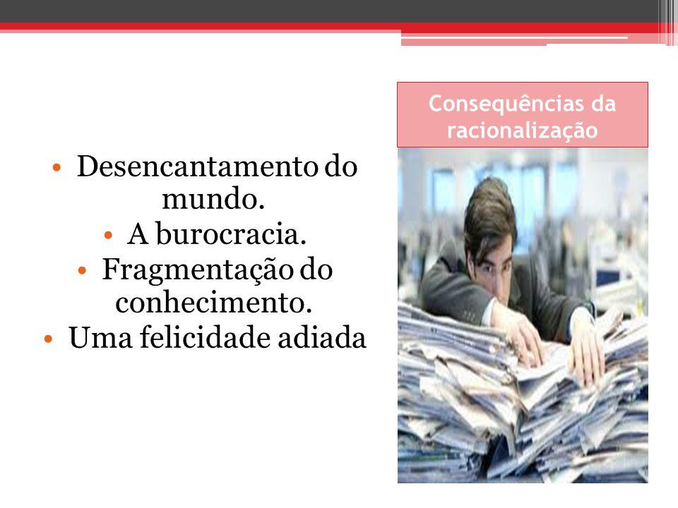 Consequências da racionalização Desencantamento do mundo. A burocracia. Fragmentação do conhecimento. Uma felicidade adiada