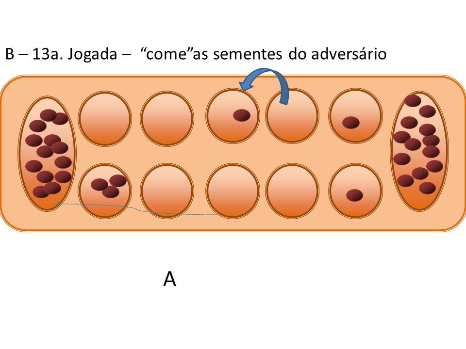 B – 13a. Jogada – comeas sementes do adversário A