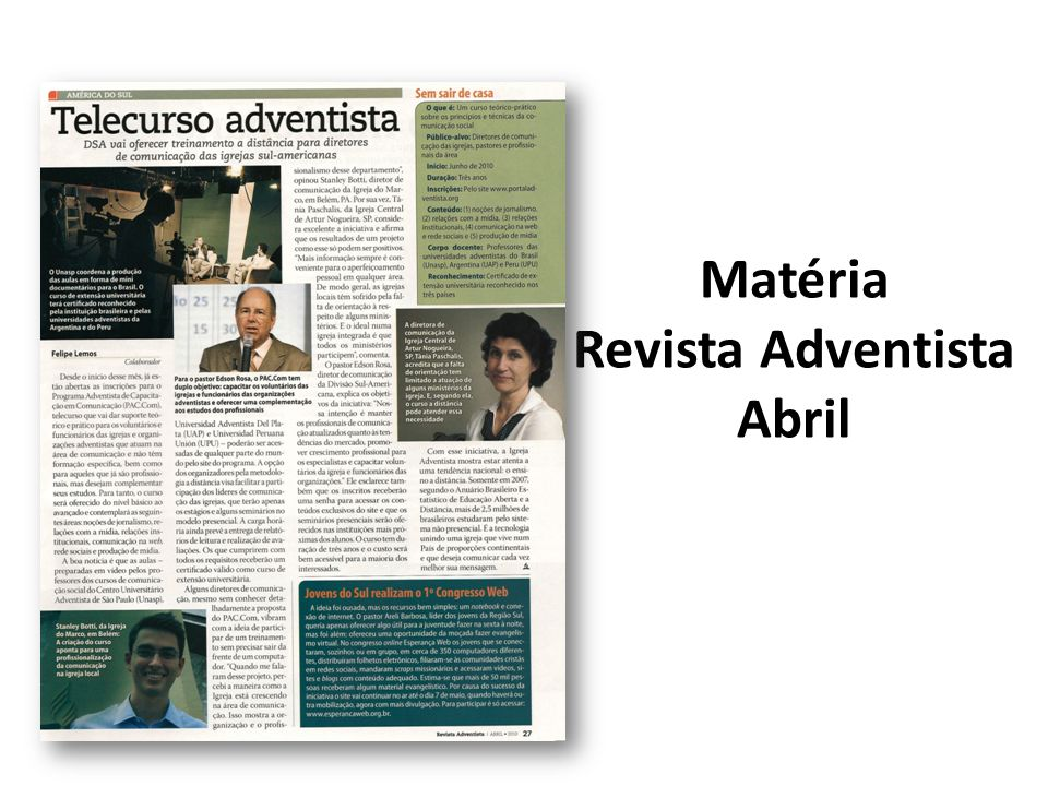 Matéria Revista Adventista Abril