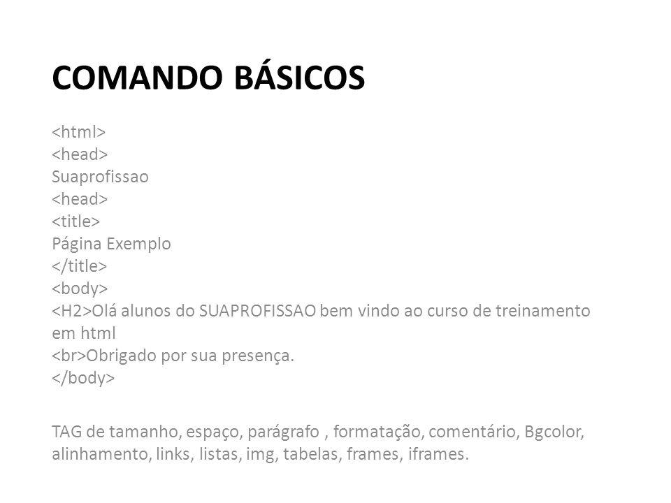 COMANDO BÁSICOS Suaprofissao Página Exemplo Olá alunos do SUAPROFISSAO bem vindo ao curso de treinamento em html Obrigado por sua presença. TAG de tam
