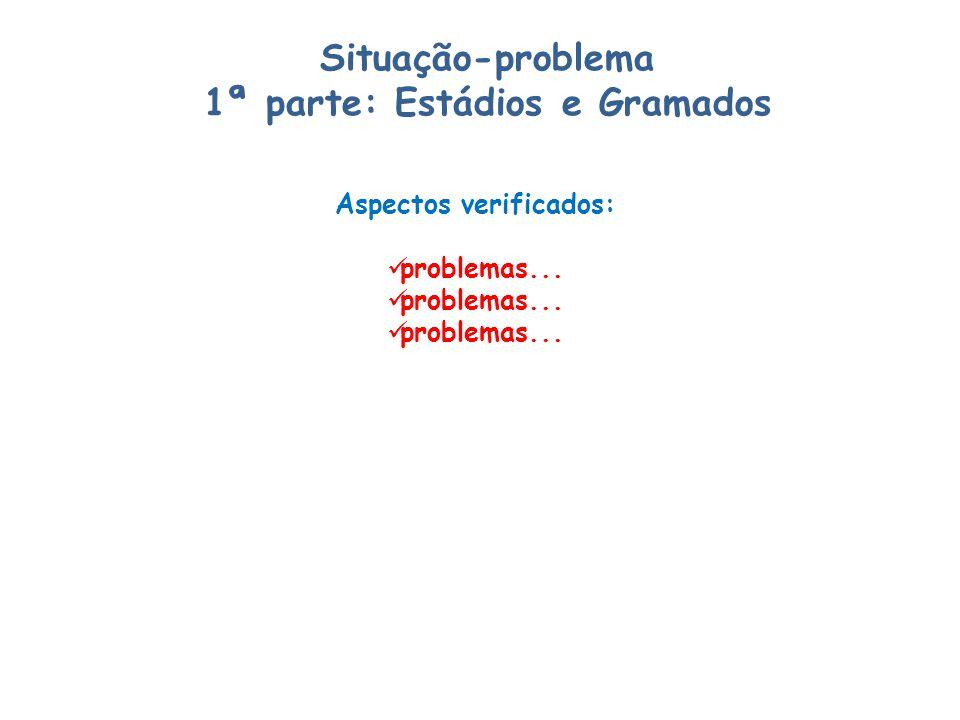 Situação-problema 1ª parte: Estádios e Gramados Aspectos verificados: problemas...