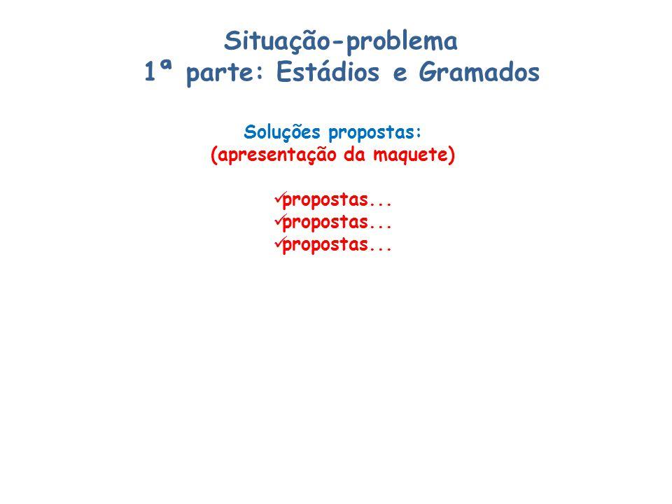 Situação-problema 1ª parte: Estádios e Gramados Soluções propostas: (apresentação da maquete) propostas...