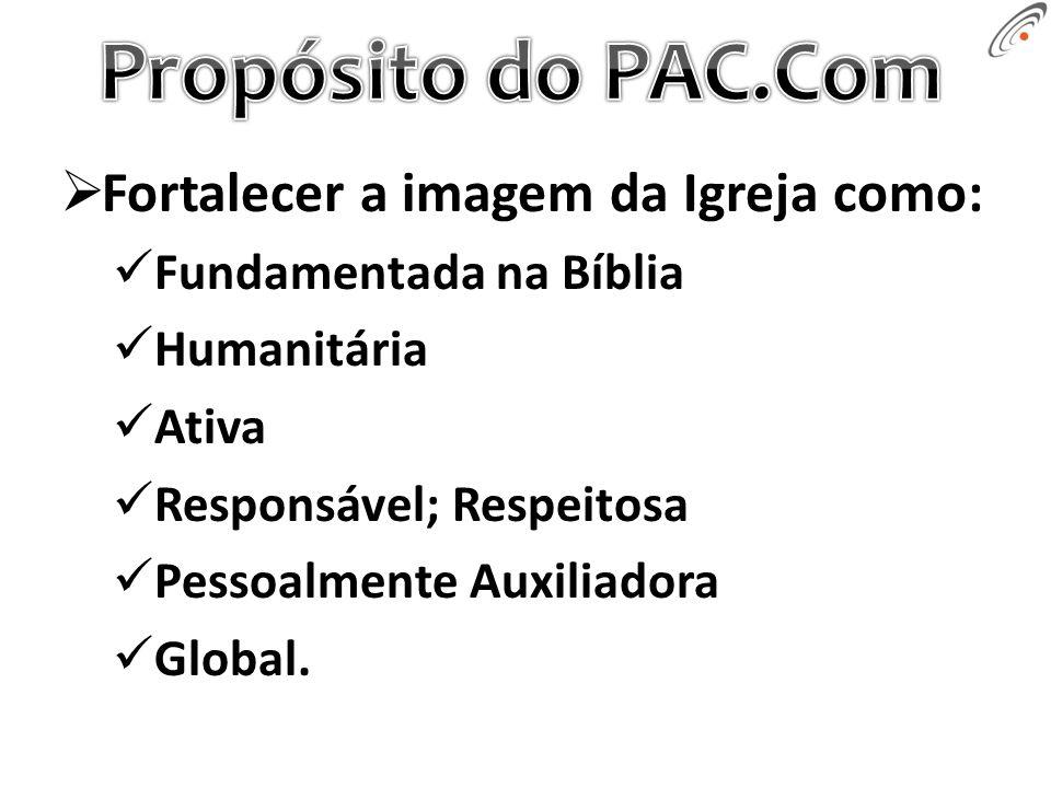 Fortalecer a imagem da Igreja como: Fundamentada na Bíblia Humanitária Ativa Responsável; Respeitosa Pessoalmente Auxiliadora Global.
