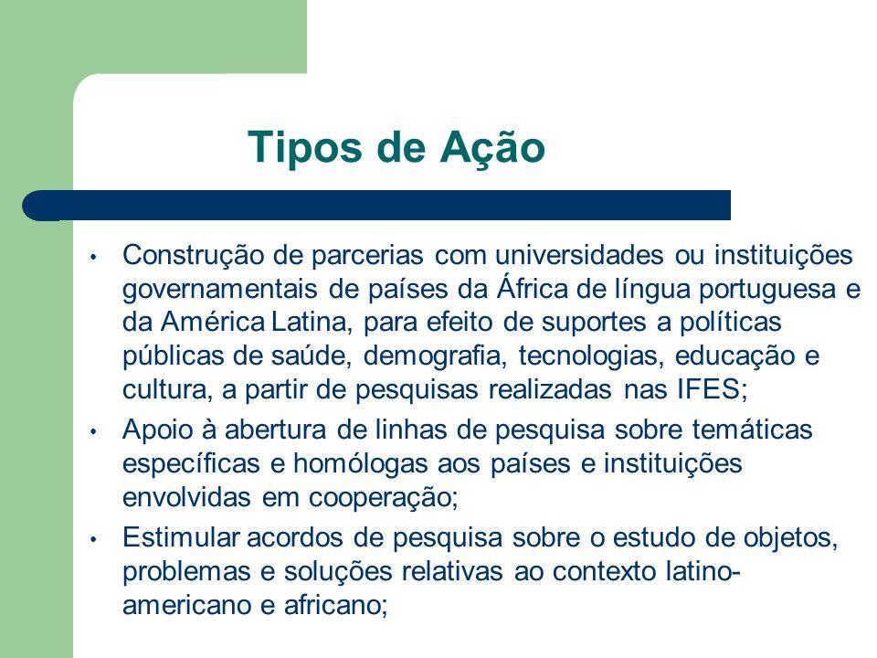 Estabelecimento de cooperações com instituições de ensino universitário e de pesquisa na Europa e nos Estados Unidos que tenham Centros de Estudos sobre o Brasil; Linhas de Pesquisa sobre a América Latina e África; e Centros de Estudos sobre Temas Contemporâneos e Ciências Emergentes; Formalizar termos de compromisso de parceria com organismos e agências internacionais, como a ONU, a OMS, a União Européia, entre outras.