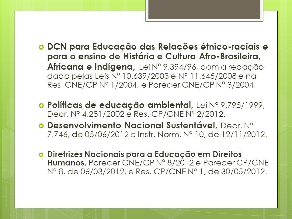 DCN para Educação das Relações étnico-raciais e para o ensino de História e Cultura Afro-Brasileira, Africana e Indígena, Lei Nº 9.394/96, com a redaç