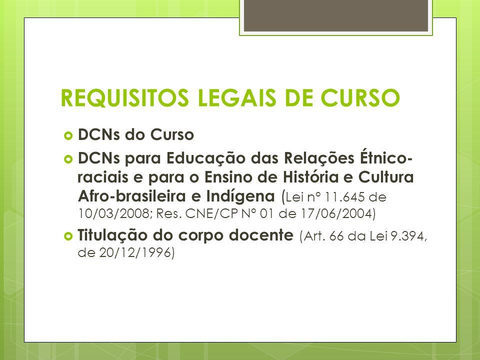 REQUISITOS LEGAIS DE CURSO DCNs do Curso DCNs para Educação das Relações Étnico- raciais e para o Ensino de História e Cultura Afro-brasileira e Indíg