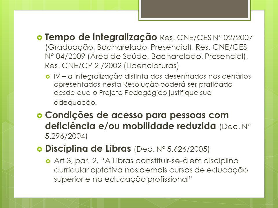 Tempo de integralização Res. CNE/CES N° 02/2007 (Graduação, Bacharelado, Presencial), Res. CNE/CES N° 04/2009 (Área de Saúde, Bacharelado, Presencial)