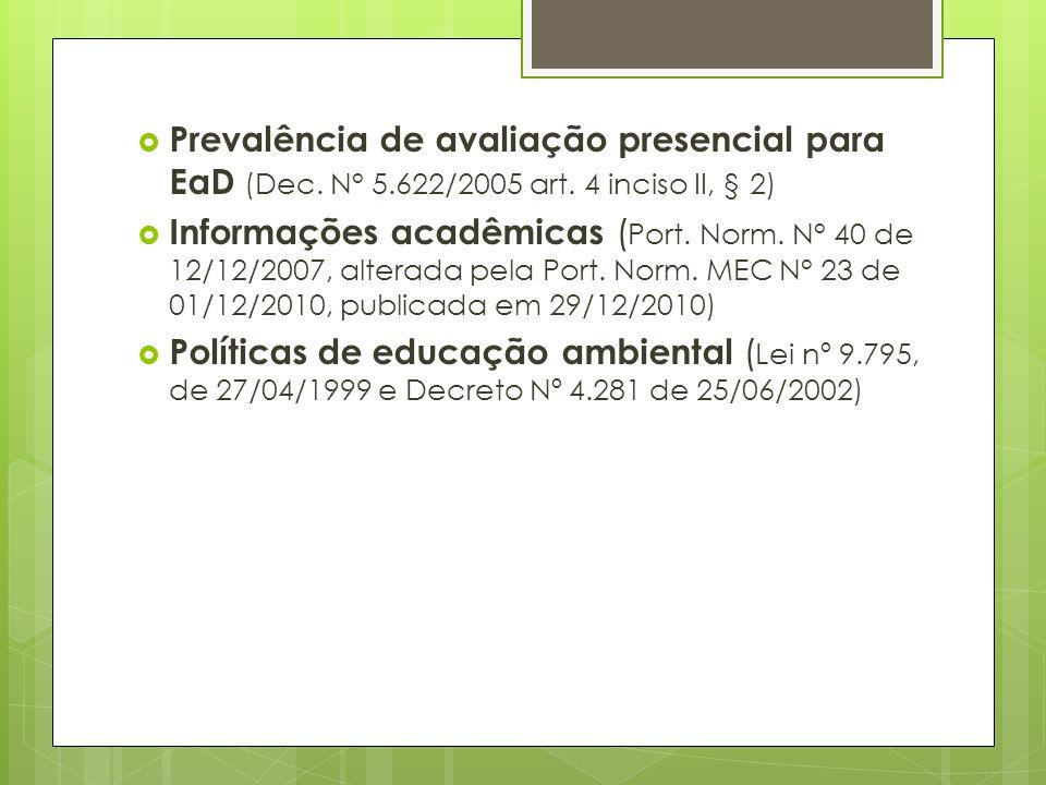 Prevalência de avaliação presencial para EaD (Dec. N° 5.622/2005 art. 4 inciso II, § 2) Informações acadêmicas ( Port. Norm. N° 40 de 12/12/2007, alte