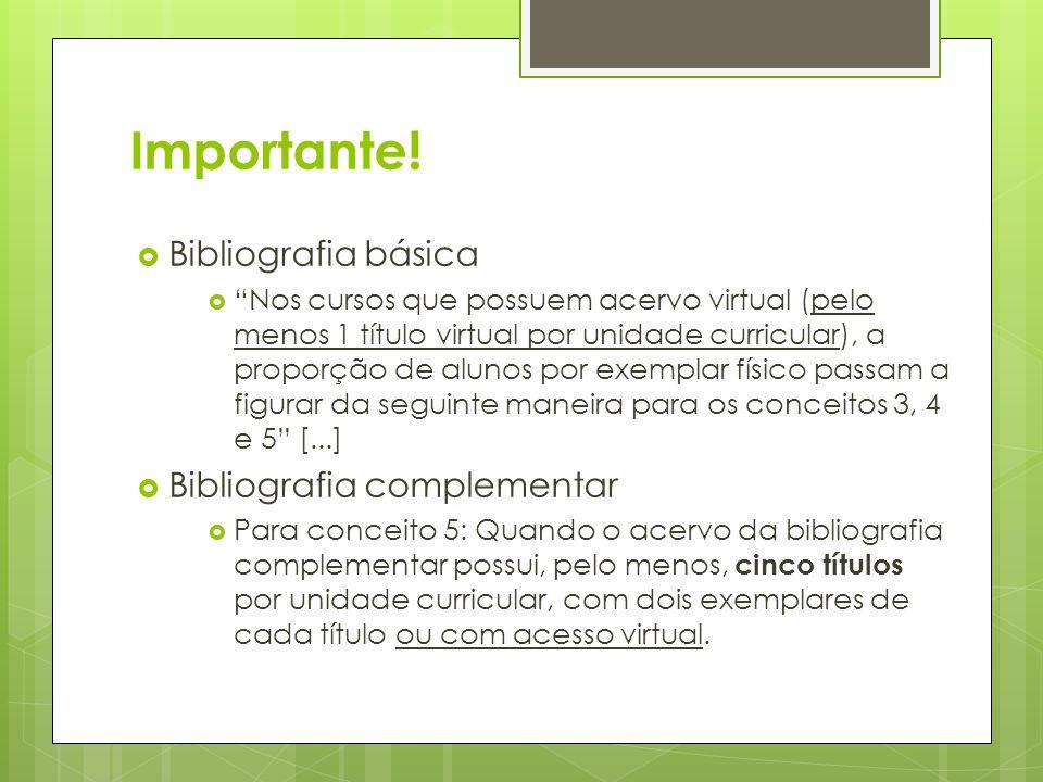 Importante! Bibliografia básica Nos cursos que possuem acervo virtual (pelo menos 1 título virtual por unidade curricular), a proporção de alunos por