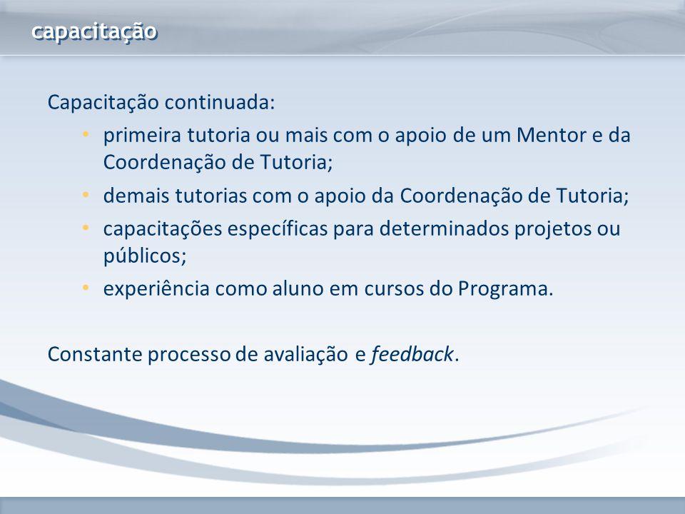 www.fgv.br/fgvonline capacitação Capacitação continuada: primeira tutoria ou mais com o apoio de um Mentor e da Coordenação de Tutoria; demais tutoria