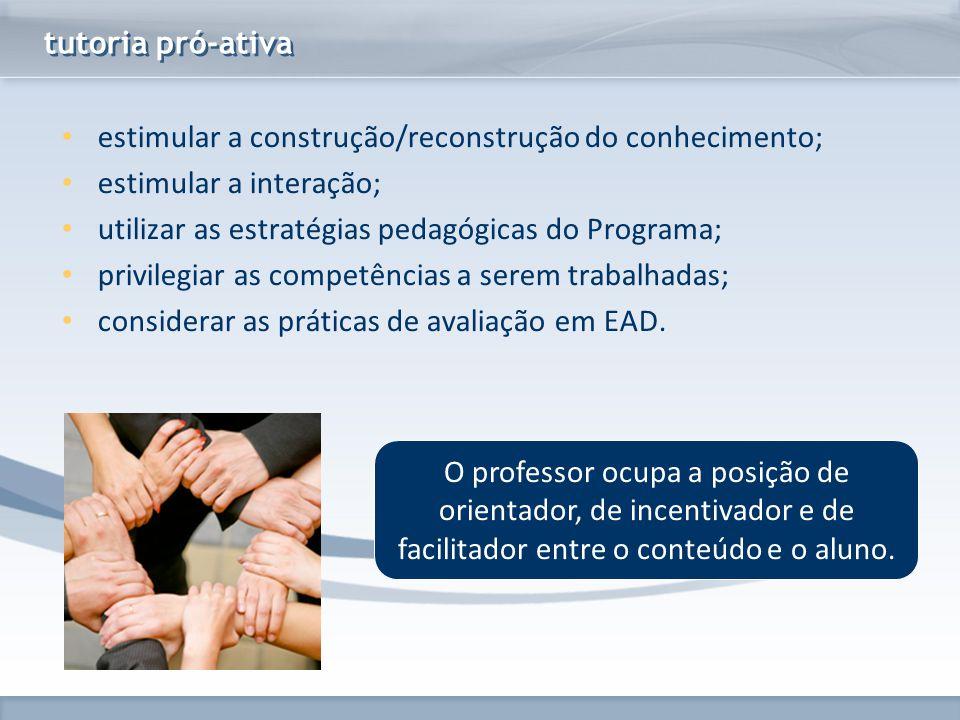 www.fgv.br/fgvonline tutoria pró-ativa estimular a construção/reconstrução do conhecimento; estimular a interação; utilizar as estratégias pedagógicas