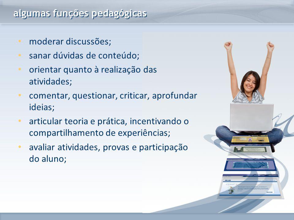 www.fgv.br/fgvonline algumas funções pedagógicas moderar discussões; sanar dúvidas de conteúdo; orientar quanto à realização das atividades; comentar,