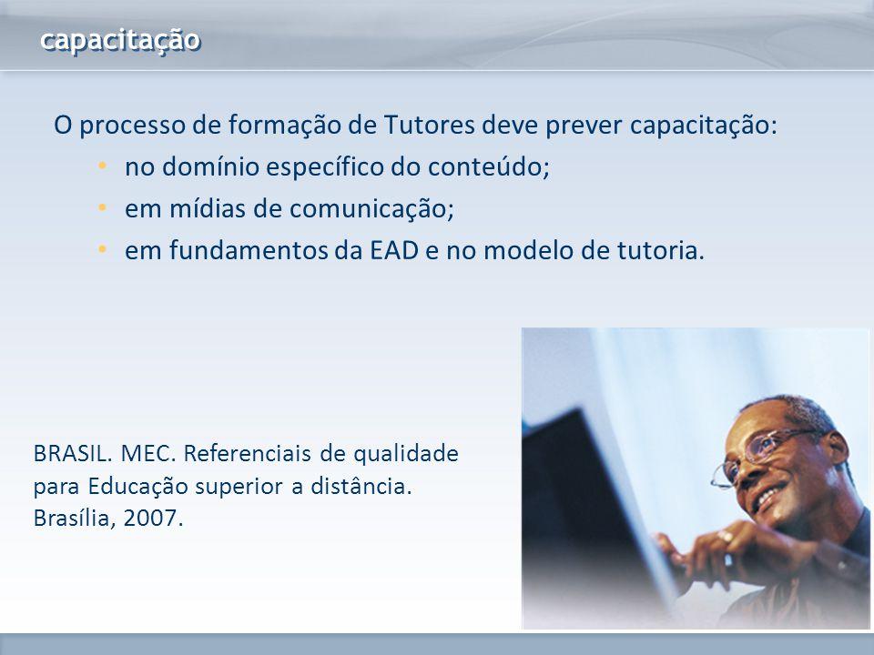 www.fgv.br/fgvonline capacitação BRASIL. MEC. Referenciais de qualidade para Educação superior a distância. Brasília, 2007. O processo de formação de