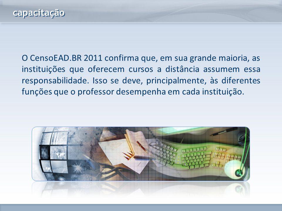 www.fgv.br/fgvonline capacitação O CensoEAD.BR 2011 confirma que, em sua grande maioria, as instituições que oferecem cursos a distância assumem essa