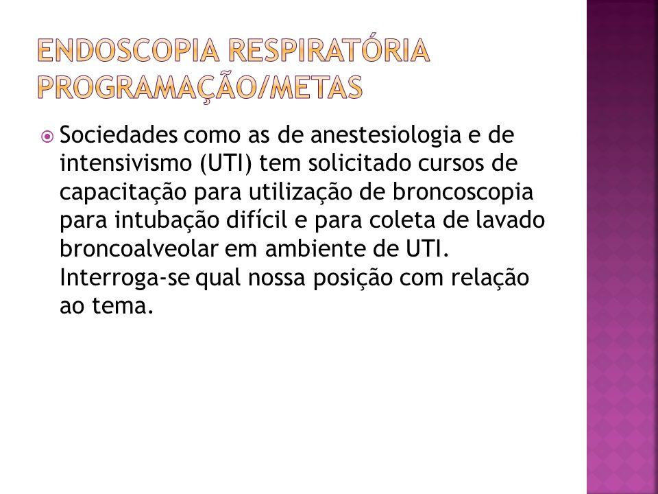 Sociedades como as de anestesiologia e de intensivismo (UTI) tem solicitado cursos de capacitação para utilização de broncoscopia para intubação difícil e para coleta de lavado broncoalveolar em ambiente de UTI.