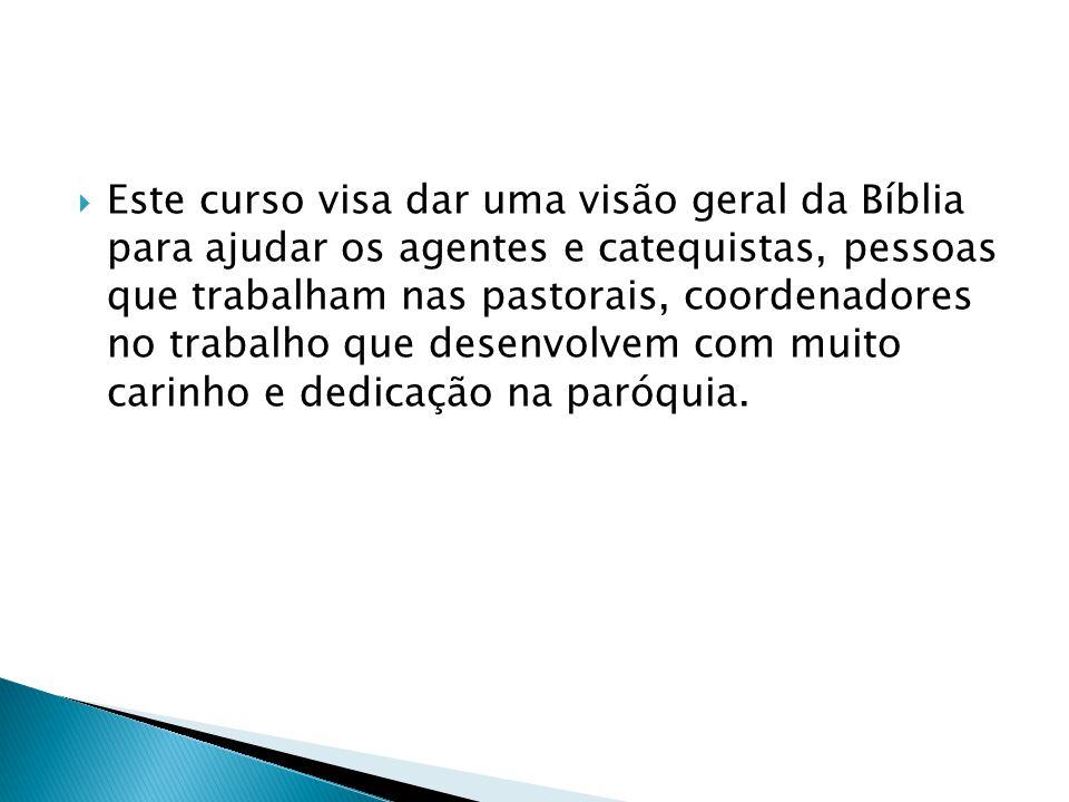 Este curso visa dar uma visão geral da Bíblia para ajudar os agentes e catequistas, pessoas que trabalham nas pastorais, coordenadores no trabalho que